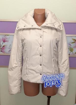 1+1=3 отличная женская бежевая куртка на кнопках only, размер 44 - 46
