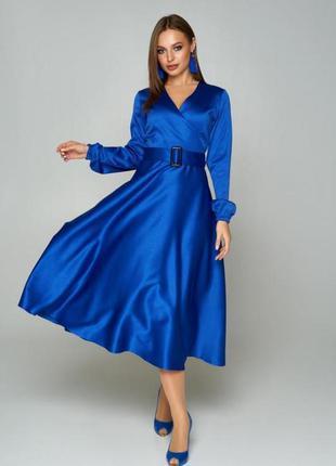 Синее платье , платье с пышной юбкой , яркое платье , платье 52 размера