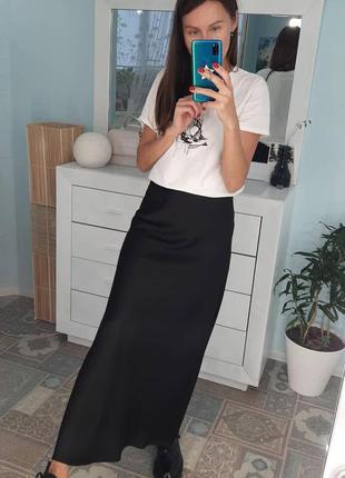 Сатиновая юбка макси миди шелковая атласная