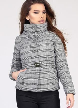 Куртка женская x-woyz ls-8828-5 цвет черно-белая клетка размер 44