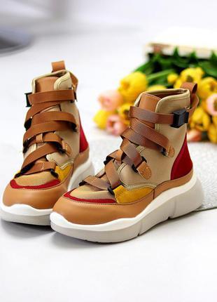 Ультра модные бежевые спортивные миксовые женские ботинки кеды мультиколор  размеры 36-41 к. 11632