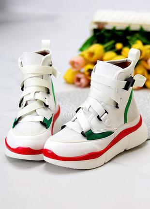 Ультра модные белые спортивные миксовые женские ботинки кеды мультиколор  размеры 36-41 к. 11633