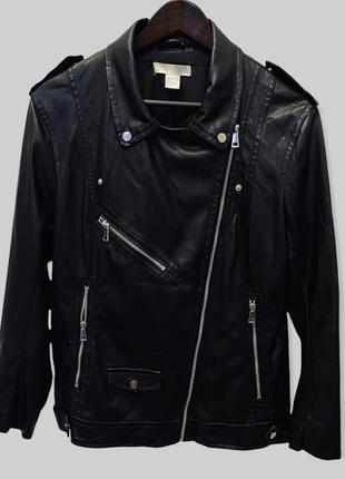 Чёрная трендовая куртка косуха h&m