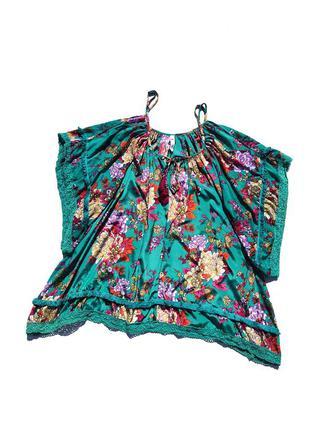 Шикарная яркая разноцветная свободная блуза цветочный принт tu