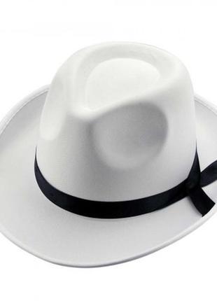 Шляпа мужская белая маскарадная +подарок