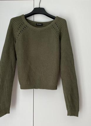 Зеленый акриловый хлопковый вязаный свитер джемпер пуловер кофта оверсайз onesize xs-m
