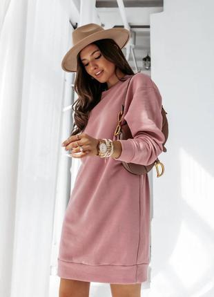 Платье туника женское теплое на флисе стильное модное серый, мокко, пудра, фисташка 42-44, 44-46