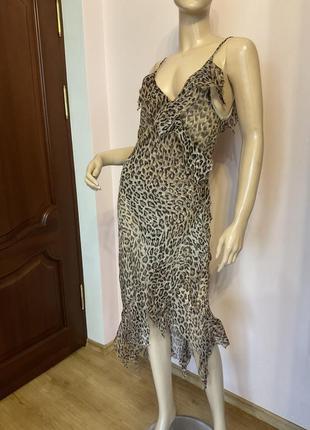 Французское легкое шелковое платье с воланами/m/brend mode machine