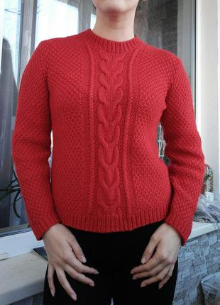 Стильный вязаный шерстяной свитер кофта