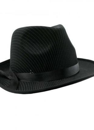 Шляпа мужская маскарадная стиль мафиози черная в полоску +подарок