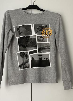 Серый лонгслив на мальчика подростка 10-12 лет кофта джемпер свитер 95% хлопок 5%вискоза