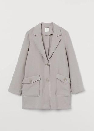 Серое пальто zara h&m