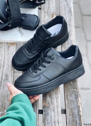 Кроссовки женские черные 7809 эко-кожа кросівки жіночі чорні еко-шкіра