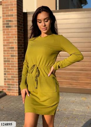 Красивое платье женское оливковое