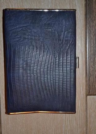 Красивый текстурный темно-синий клатч под кожу с ценником