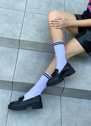 Туфли лоферы кожаные черного цвета