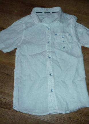 John lewis белая льняная рубашка на 7 лет 100% лен