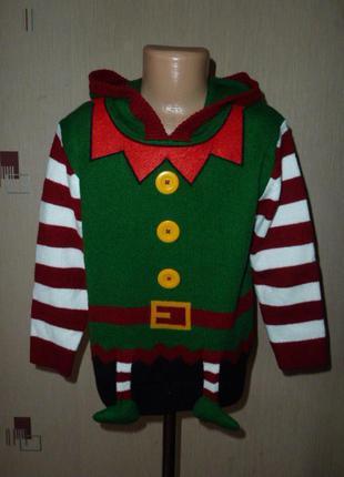 Next новогодний свитер некст на 5-6 и на 9 лет, помощник санты