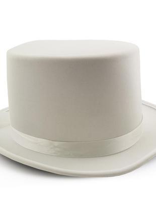 Шляпа-цилиндр атласная белая маскарадная джентльмен фокусник + подарок