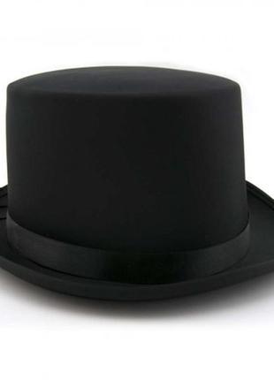 Шляпа цилиндр черная маскарадная атласная джентльмен фокусник + подарок