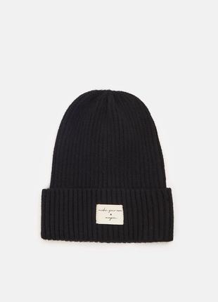 Новая черная шапка в рубчик надпись make your own magic создавай собственную магию