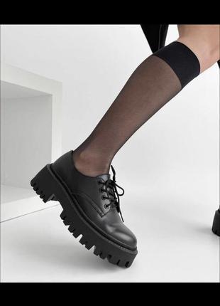 Чёрные женские кожаные туфли оксфорды