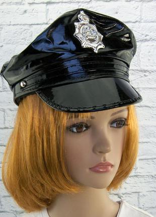 Фуражка полицейского полицейской маскарадная лаковая шляпа кепка унисекс +подарок