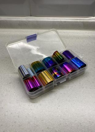 Набор цветной фольги для дизайна ногтей