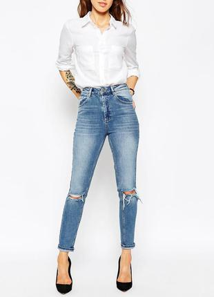Крутые плотные мом джинсы бойфренд на высокой посадке asos