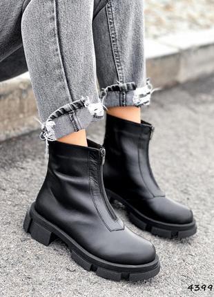 Ботинки женские tim черные деми натуральная кожа флис черевики жіночі чорні натуральна шкіра фліс