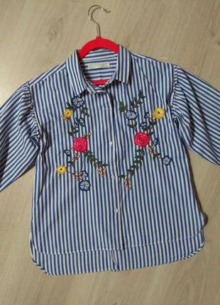 Красивая блузка с вышивкой zara зара для девочки 9-10 лет