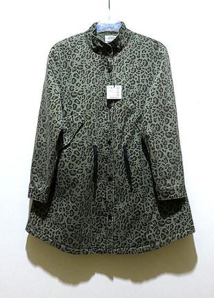 Zara парка утепленная куртка хлопок 13-14 лет на девочку зеленая