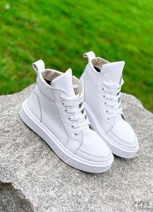 Ботинки женские ivain белые натуральная кожа байка черевики жіночі білі натуральна шкіра байка