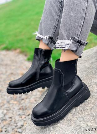 Ботинки женские cristi черные натуральна кожа + резинка флис черевики жіночі чорні натуральна шкіра
