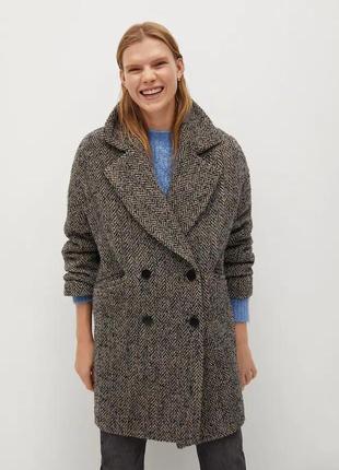 Двубортное шерстяное пальто оверсайз с фактурной выделкой