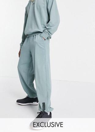 Плотные синие с серым джогеры спортивные штаны puma