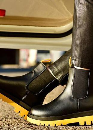 Рр 36-41.чёрные ботинки челси демисезонные