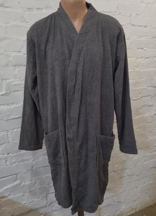 Мужской махровый халат серого цвета miomare, р. м/48-50, без пояса