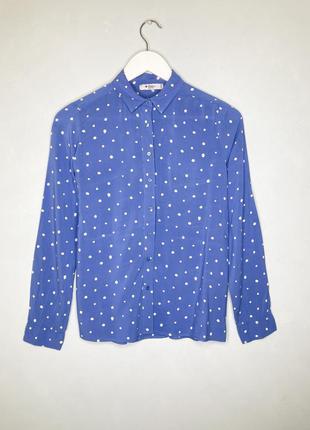 Colin's блакитна сорочка в горошок s, голубая рубашка в белый горошок