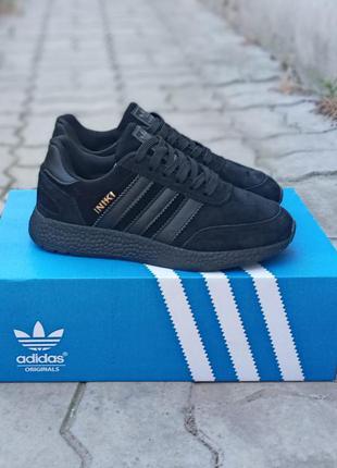 Подростковые кроссовки adidas iniki черные, замшевые, осенние