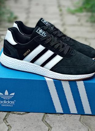 Подростковые кроссовки adidas iniki черные, замшевые
