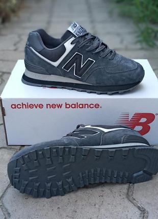 Подростковые кроссовки new balance серые, замшевые, осенние