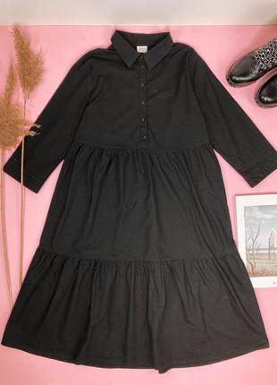 Ярусное чёрное хлопковое платье, чорна бавовняна ярусна вільна сукня