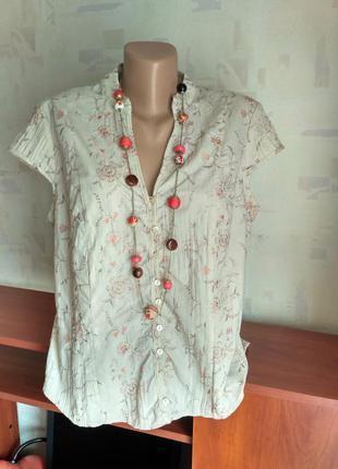Блуза кремовая с вышивкой цветы, батал, большой размер 50-52-54
