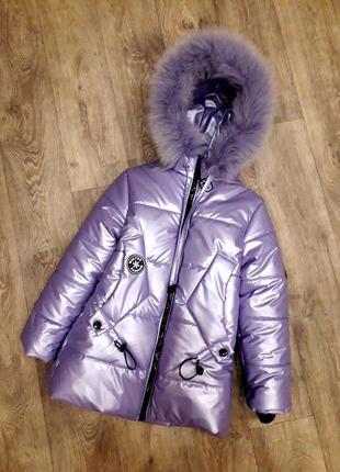 Удлиненная зимняя куртка с натуральным мехом