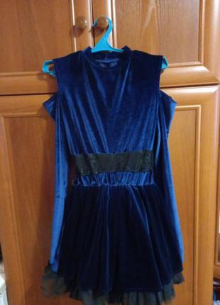 Нарядное бархатное велюровое платье тёмно синего цвета