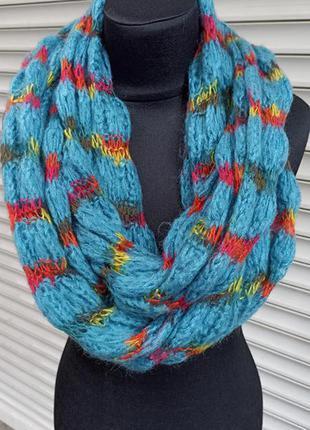 Синий снуд хомут круговой вязаный шарф