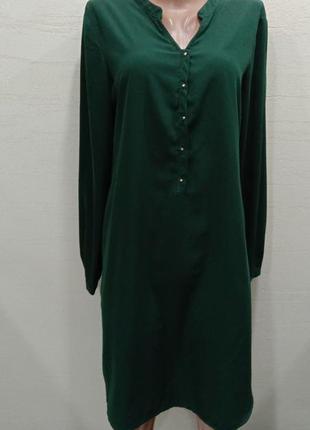 Massimo dutti зелёное изумрудное платье рубашка
