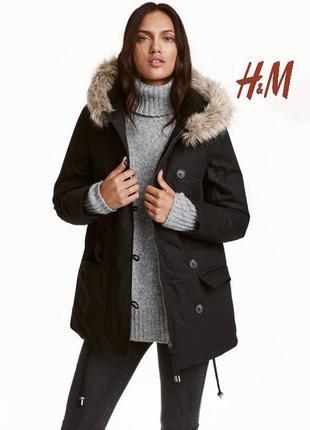Демисезонная/осенняя куртка тёплая чёрная парка h&m