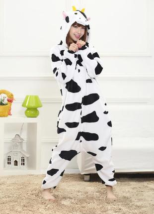 Кигуруми пижама цельная корова пидамка коровка теплая